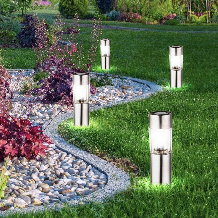 4er Set LED Edelstahl Solar Leuchten Steck Leuchten Erdspieß Außen Beleuchtung Akku Globo 33253-4 – Bild 2