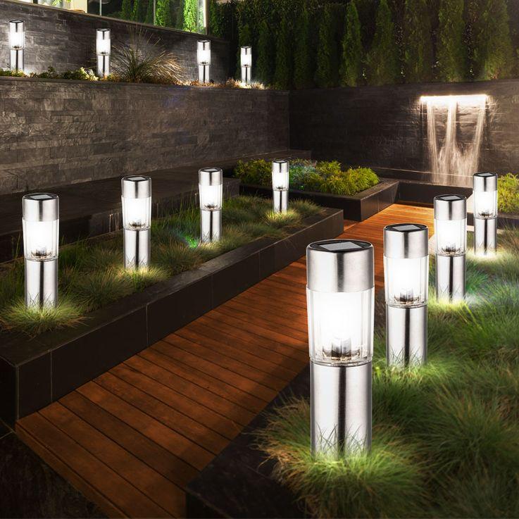 4 x lampe solaire LED acier inoxydable éclairage extérieur DEL bornes à piquer jardin – Bild 4
