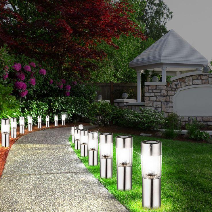 4er Set LED Edelstahl Solar Leuchten Steck Leuchten Erdspieß Außen Beleuchtung Akku Globo 33253-4 – Bild 5