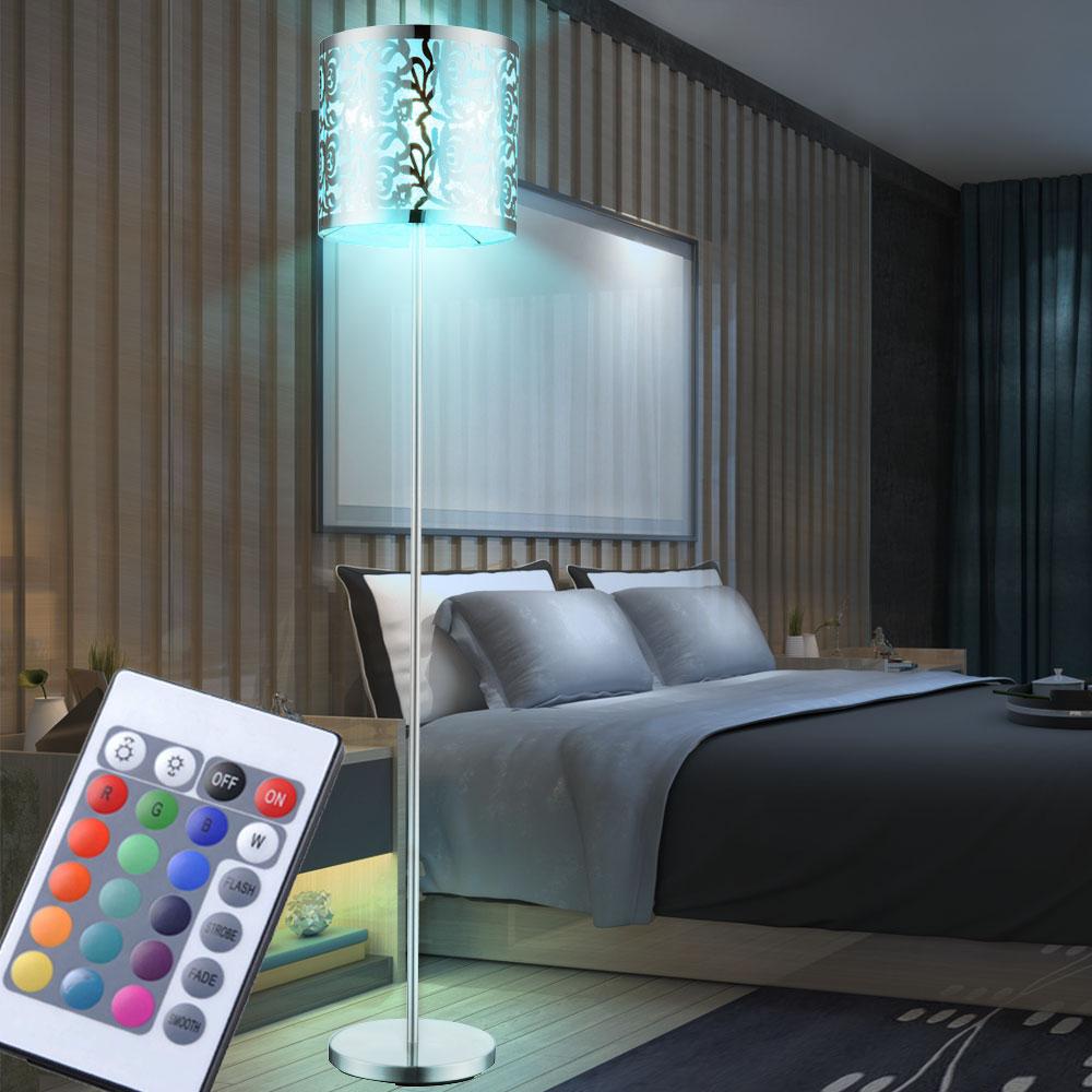 rgb led stehleuchte edelstahl dekor stanzung farbwechsel deckenfluter dimmbar ebay. Black Bedroom Furniture Sets. Home Design Ideas