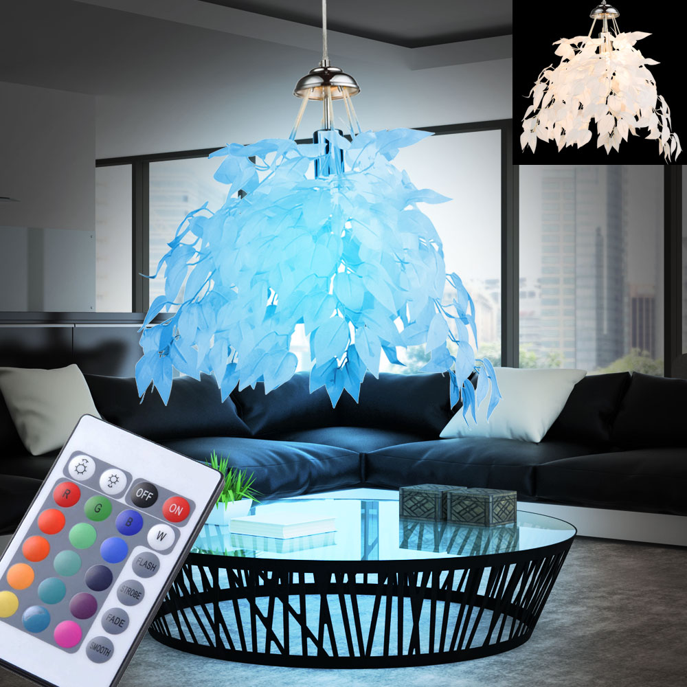 led pendel leuchten bl tter fernbedienung decken rgb l ster h nge lampen dimmbar ebay. Black Bedroom Furniture Sets. Home Design Ideas