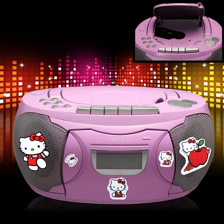 CD Player Stereo Radio Boxes Girls Kids Room Music Set included Hello Kitty Stickers included – Bild 2