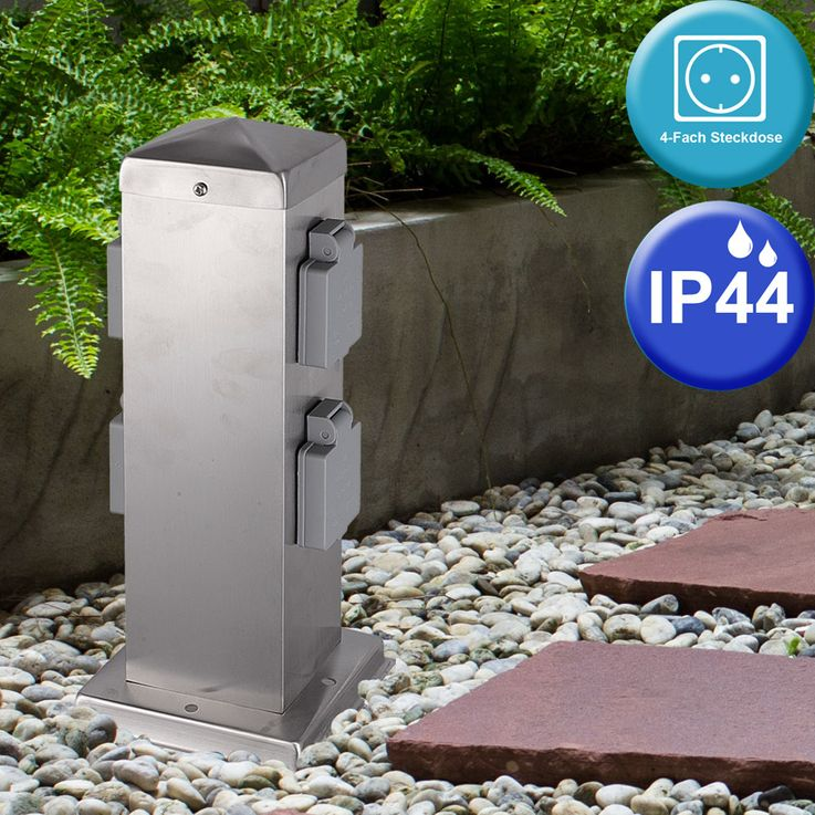 Außenbereich Steckdosen IP44 Edelstahl Pfosten Garten Strom Versorgung Terrasse HARMS 103201 – Bild 1