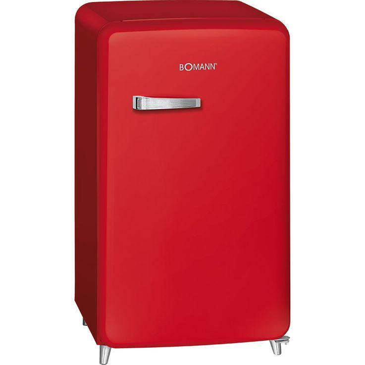Retro Kühlschrank 121l A++ 13l Gefrierfach Stufenlose Temperatureinstellung BOMANN KSR 350 rot – Bild 1