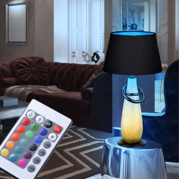 RGB LED table lamp in gold or silver color with switch – Bild 12