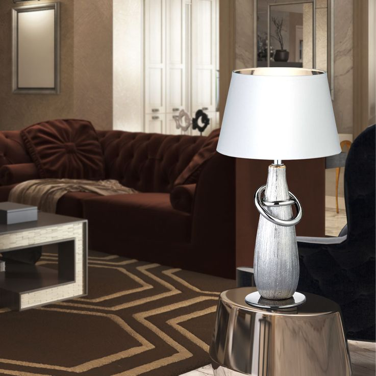 RGB LED table lamp in gold or silver color with switch – Bild 7