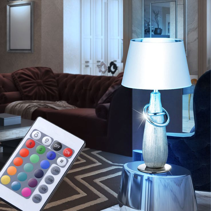 RGB LED table lamp in gold or silver color with switch – Bild 9