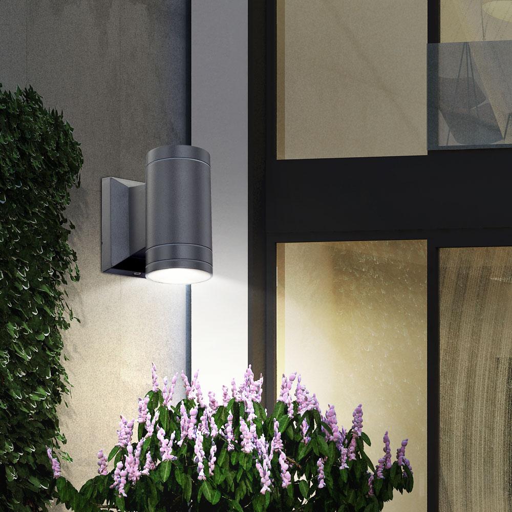 led au enlampe rgb farbwechsel wandleuchte hauswand alu down strahler dimmbar ebay. Black Bedroom Furniture Sets. Home Design Ideas