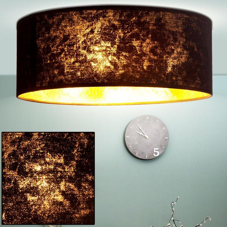 Plafonnier salle à manger salon noir lumières textile clair or Globo 15287D – Bild 2