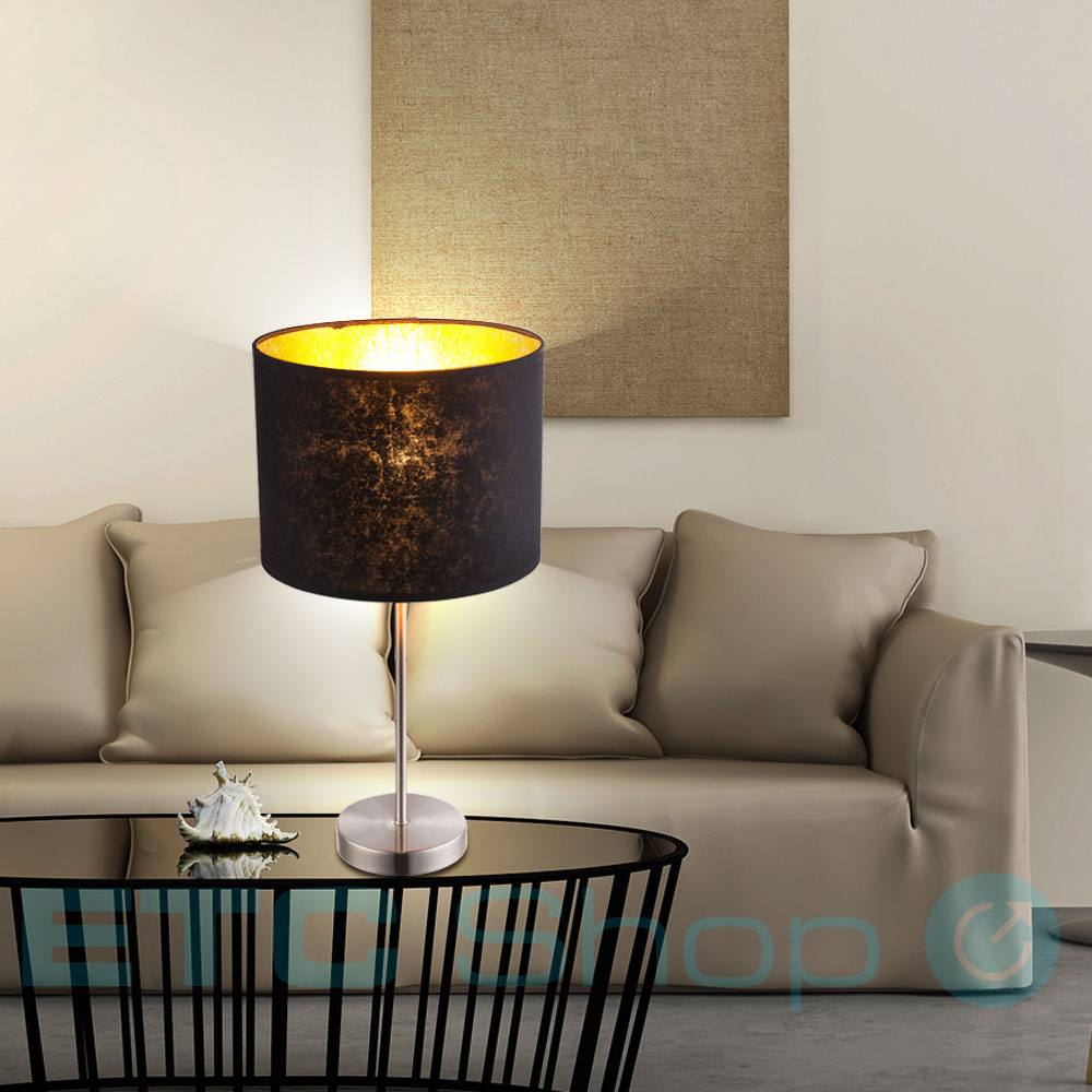 Design Table Lamp Made Of Textile In Black And Gold Amy Etc Shop