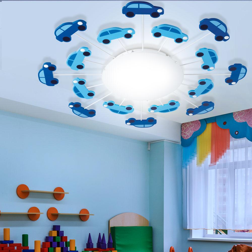 LED Deckenleuchte blau Kinderzimmer Beleuchtung Glas Sonne Wandlampe satiniert