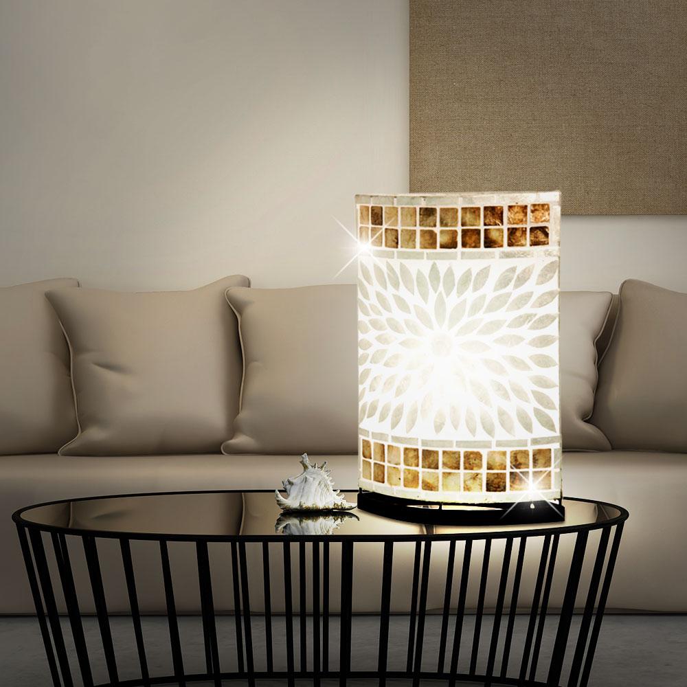 design tisch und stehleuchten mit muschelmosaik bali. Black Bedroom Furniture Sets. Home Design Ideas