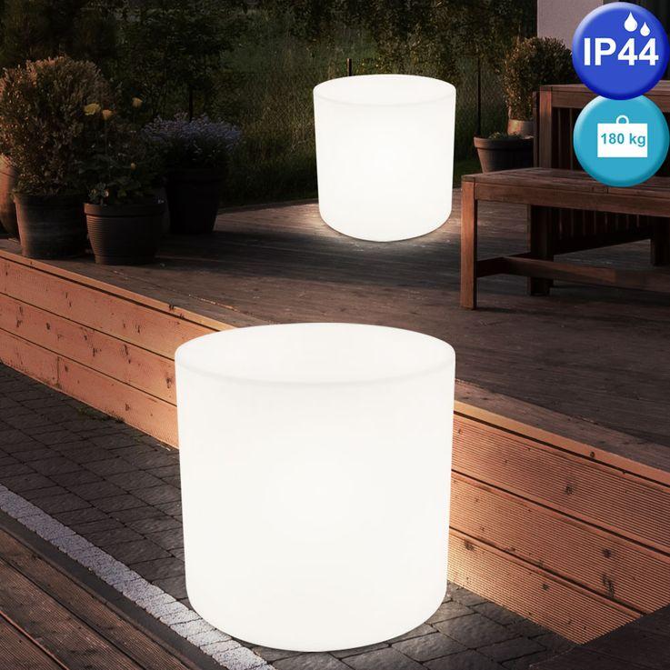 Außen Beleuchtung weiß E27 Terrasse Sitz Fläche Stuhl Leuchte im Set inklusive LED Leuchtmittel Sitzwürfel  – Bild 5