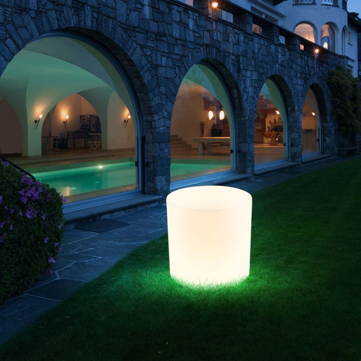 Außen Beleuchtung weiß E27 Terrasse Sitz Fläche Stuhl Leuchte im Set inklusive LED Leuchtmittel Sitzwürfel  – Bild 6