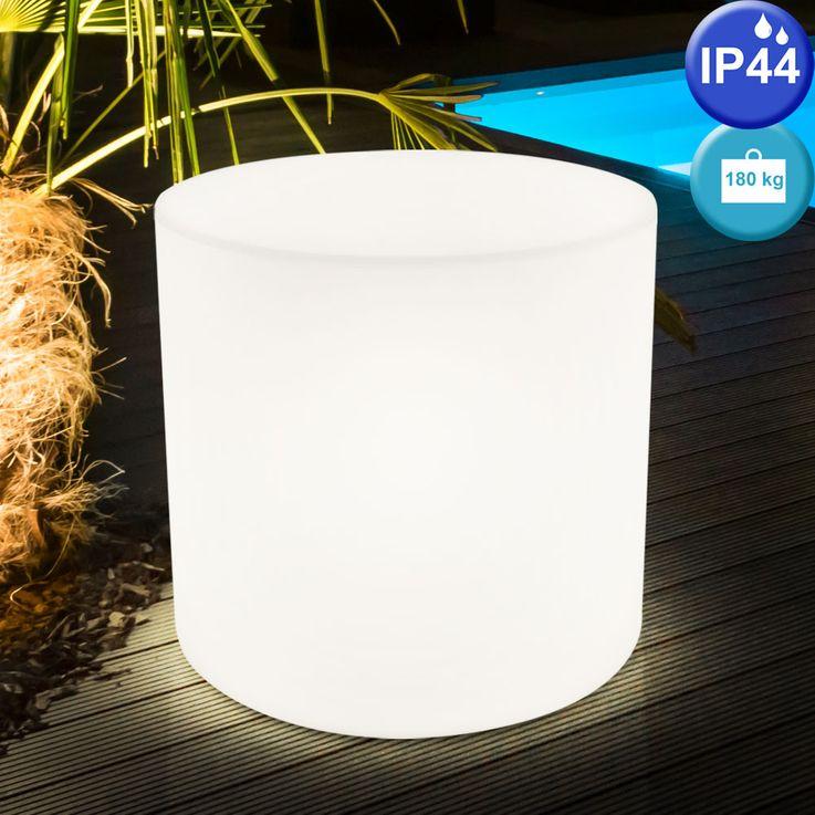 2er Set Design Außen Beleuchtungen weiß E27 Terrasse Sitz Flächen Stuhl Leuchten IP44 Lampen Sitzwürfel  – Bild 4
