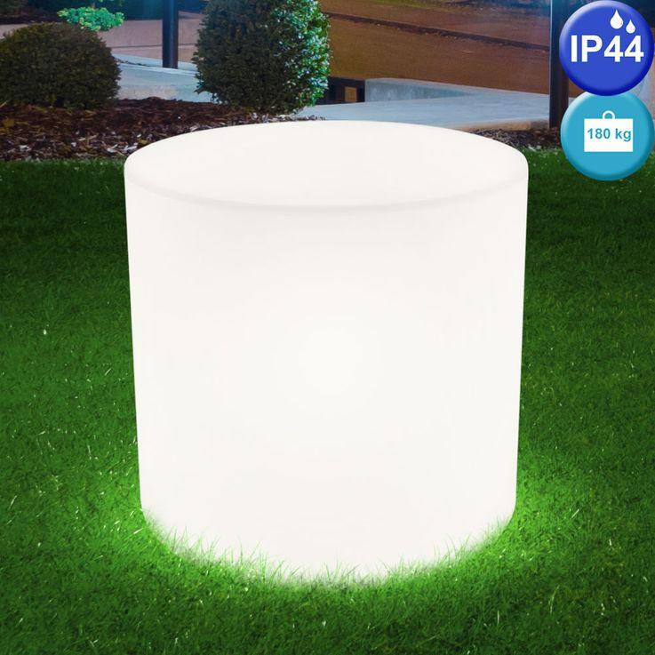 2er Set Design Außen Beleuchtungen weiß E27 Terrasse Sitz Flächen Stuhl Leuchten IP44 Lampen Sitzwürfel  – Bild 5