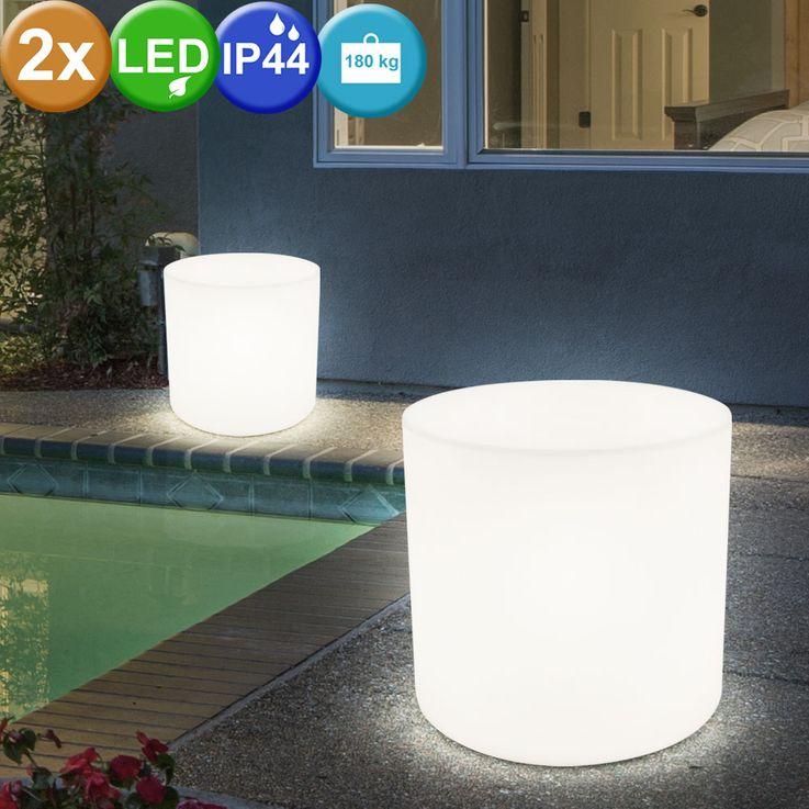 2er Set Außen Beleuchtungen Terrasse Sitz Fläche Stuhl Leuchten im Set inklusive LED Leuchtmittel Sitzwürfel  – Bild 2