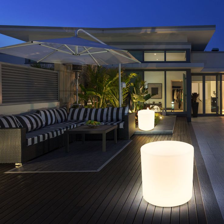 2er Set Außen Beleuchtungen Terrasse Sitz Fläche Stuhl Leuchten im Set inklusive LED Leuchtmittel Sitzwürfel  – Bild 5