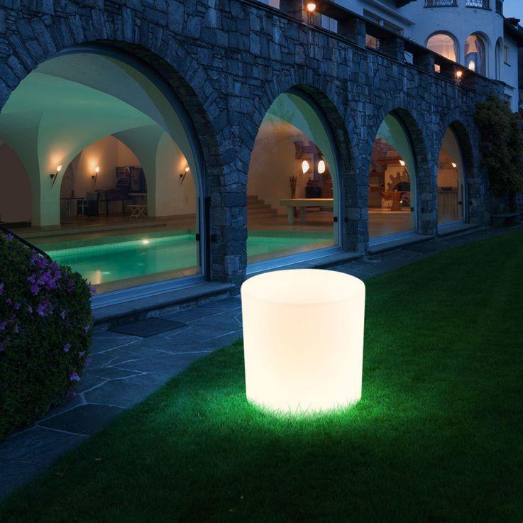 2er Set Außen Beleuchtungen Terrasse Sitz Fläche Stuhl Leuchten im Set inklusive LED Leuchtmittel Sitzwürfel  – Bild 6