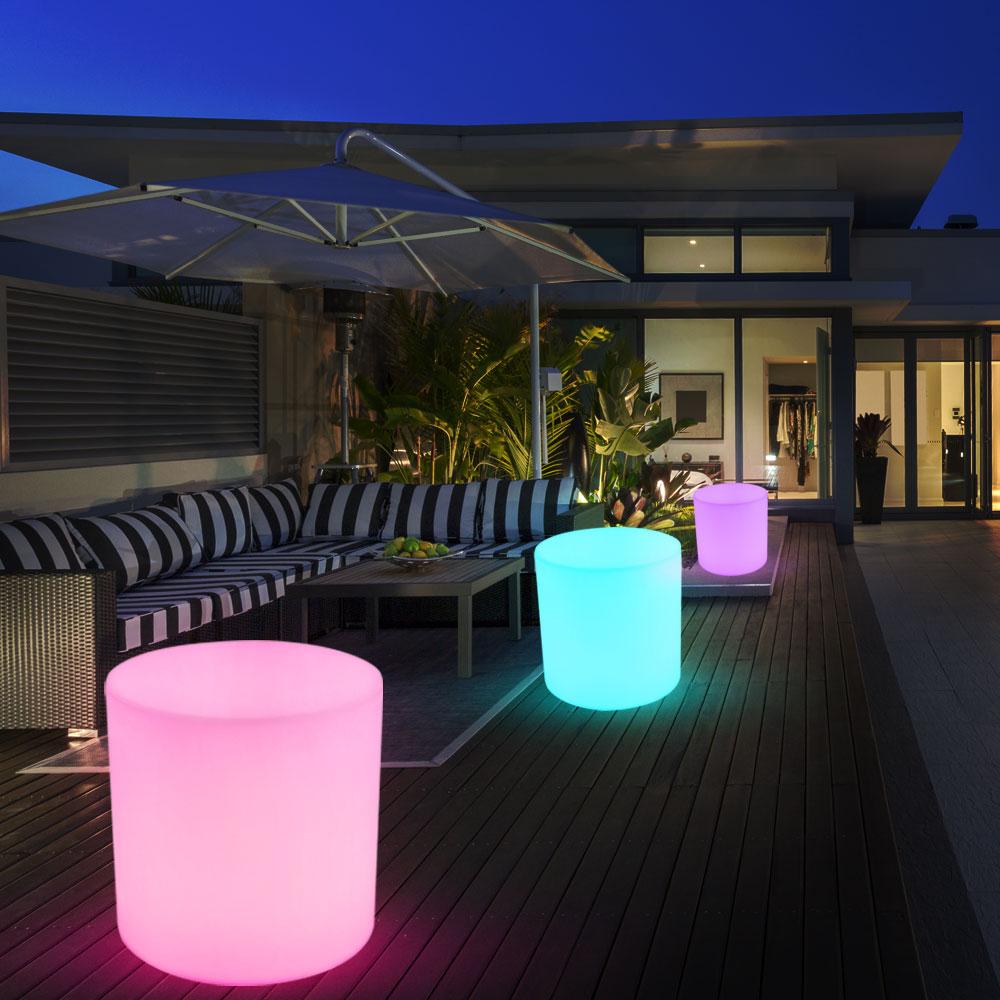 2er set rgb led au enleuchten hocker terrasse standlampen. Black Bedroom Furniture Sets. Home Design Ideas