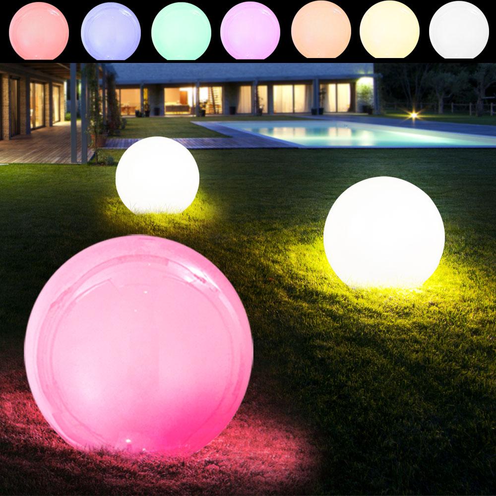 3er Set RGB LED Solar Außen Leuchten Farbwechsel Kugel Steck Lampen Big Light