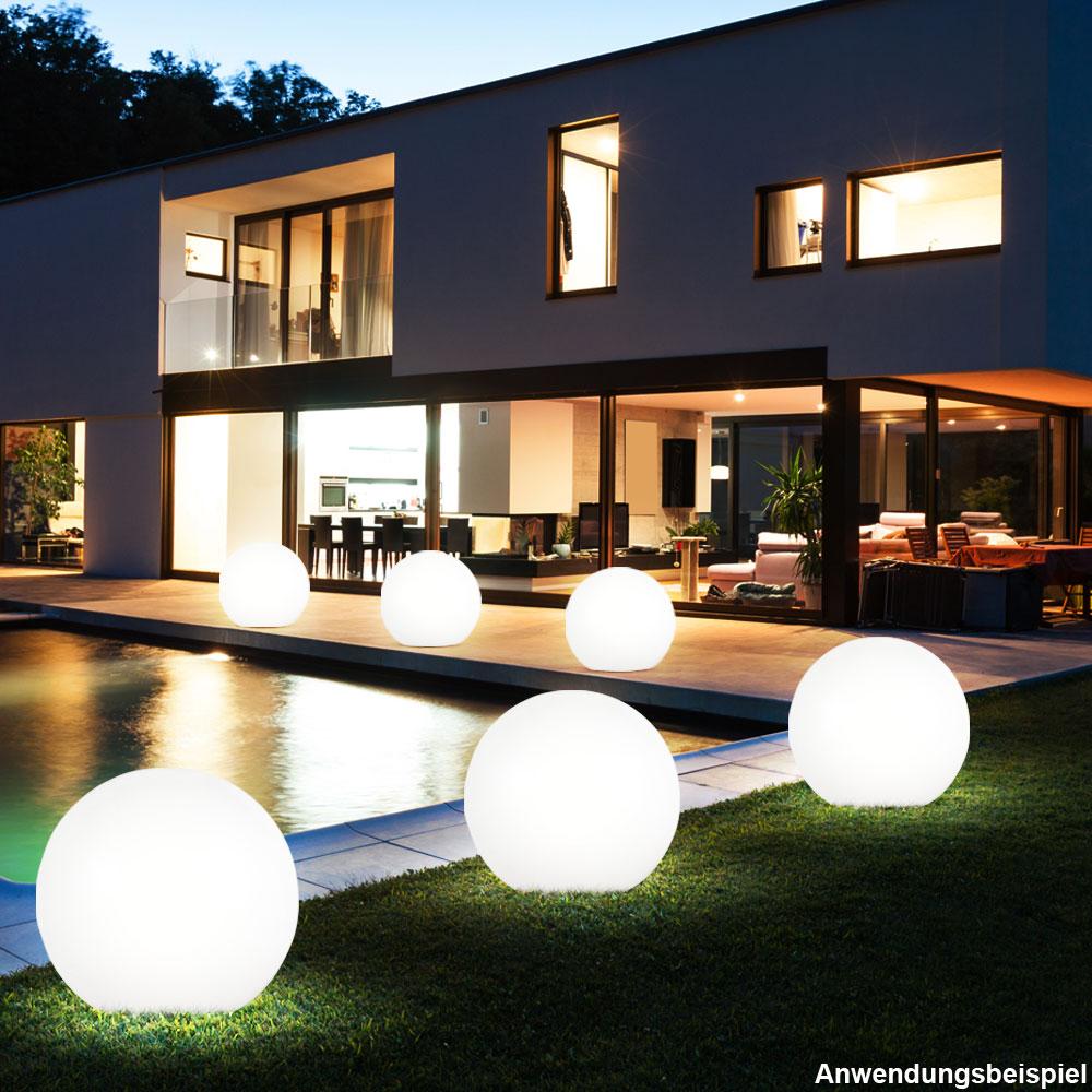 3er Set RGB LED Kugelleuchten Solar Außenlampen Erdspieß Garten Dekoration weiß