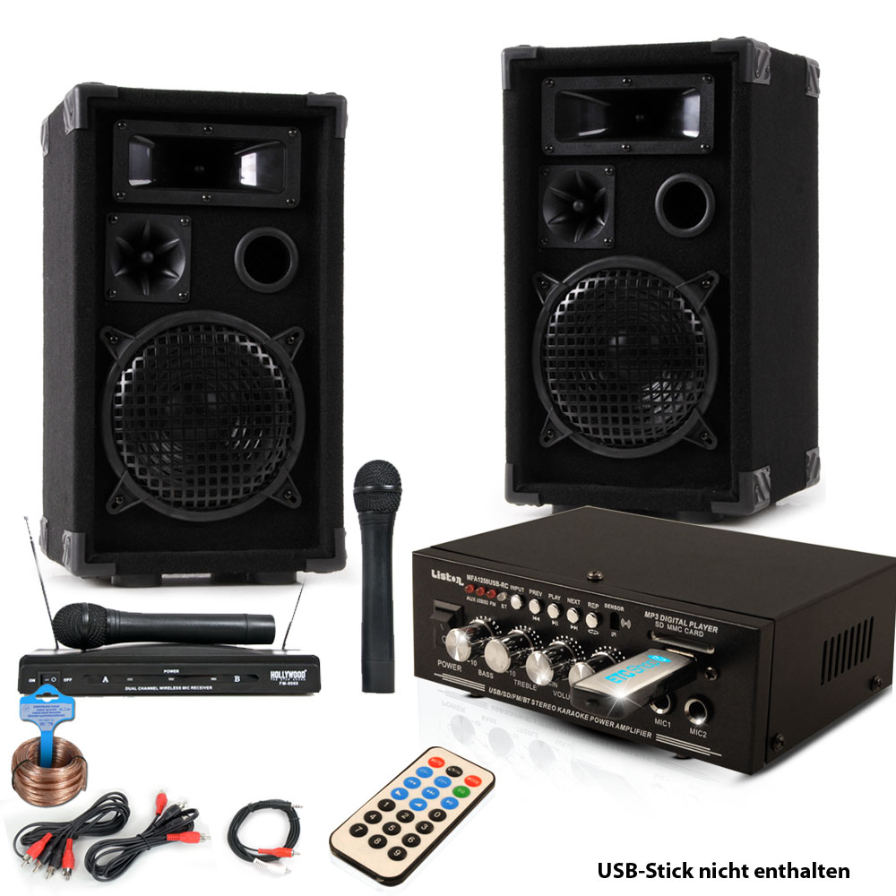 set mit boxen funkmikro und bluetooth verst rker dj future 2 audio technik dj equipment. Black Bedroom Furniture Sets. Home Design Ideas