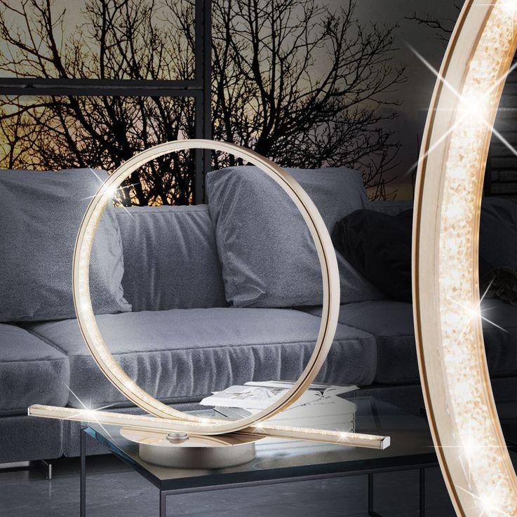 LED Table Lamp Living Room Reading Lamp Crystals Effect Foil Switch Globo 67004-12T – Bild 3