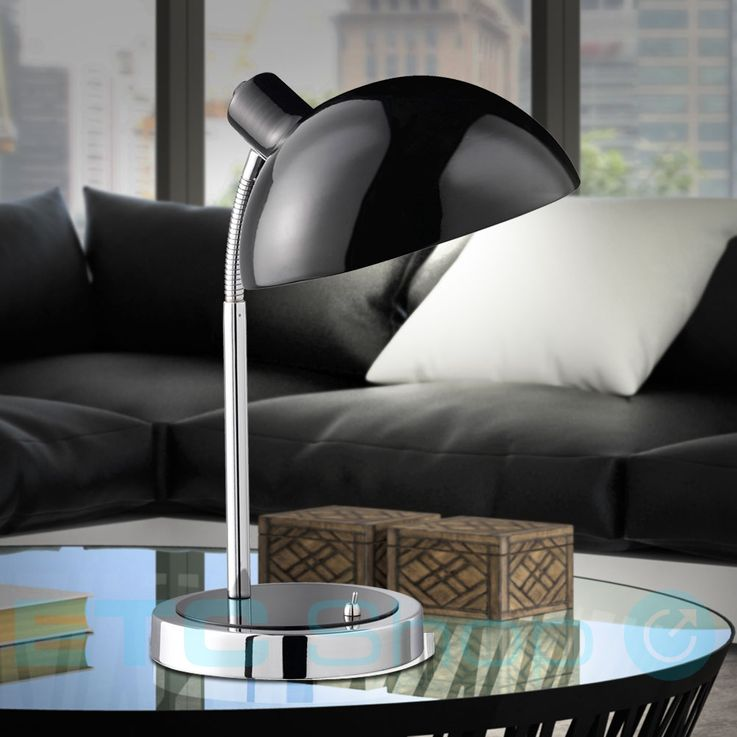 Lampe de table métal luminaire éclairage chambre lecture bureau salle séjour nuit noir – Bild 2
