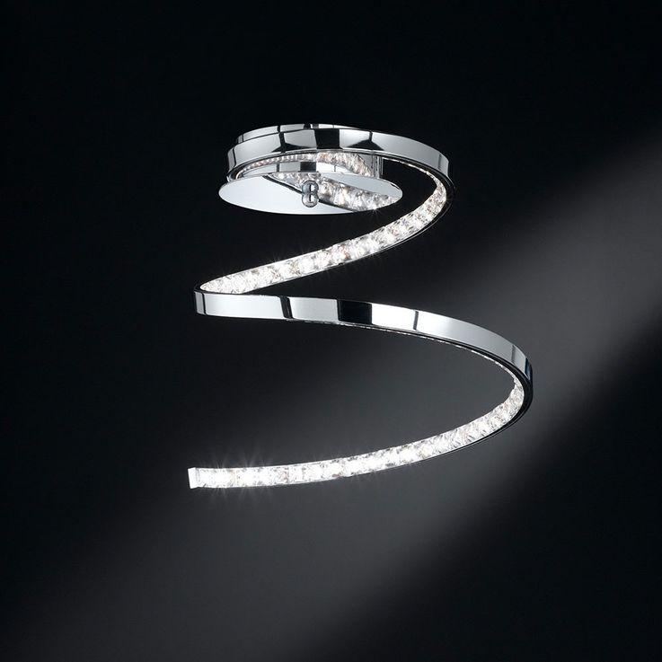 LED ceiling lamp living room glass stone spiral lighting ALU light chrome WOFI 9537.01.01.6000 – Bild 5