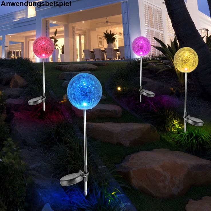 RGB LED Solar Leuchte Steck Lampe Stand Garten Kugel Strahler Farbwechsler Leuchten Direkt 19770-55 – Bild 4