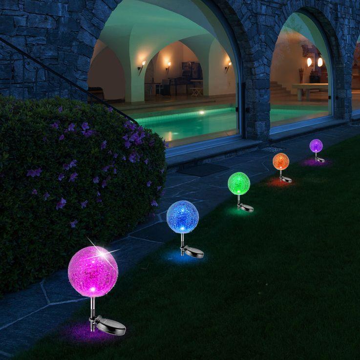 RGB LED Solar Leuchte Steck Lampe Stand Garten Kugel Strahler Farbwechsler Leuchten Direkt 19770-55 – Bild 6