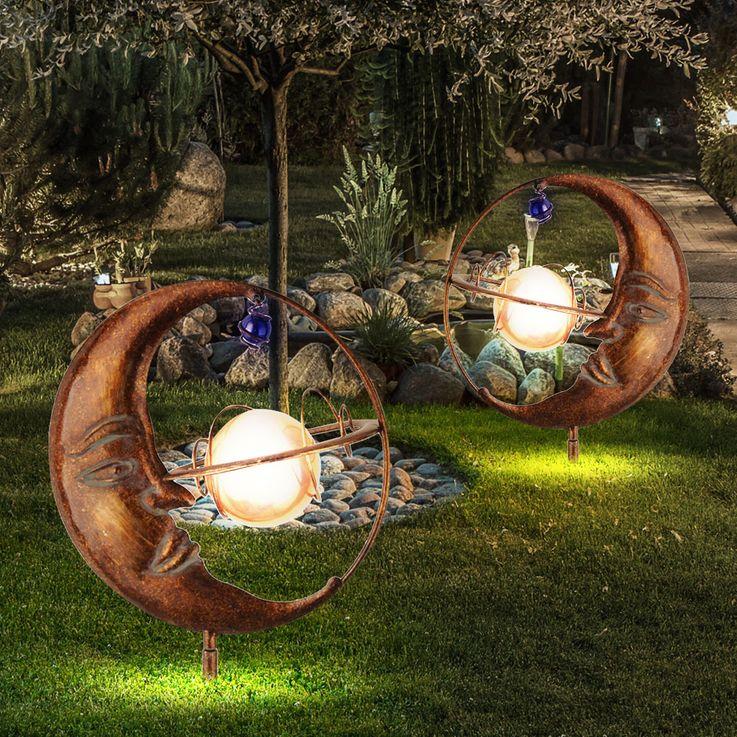 Luxus LED Solar Steck Leuchte Mond Kugel Erdspieß Garten Park Strahler Leuchten Direkt 19776-70 – Bild 5