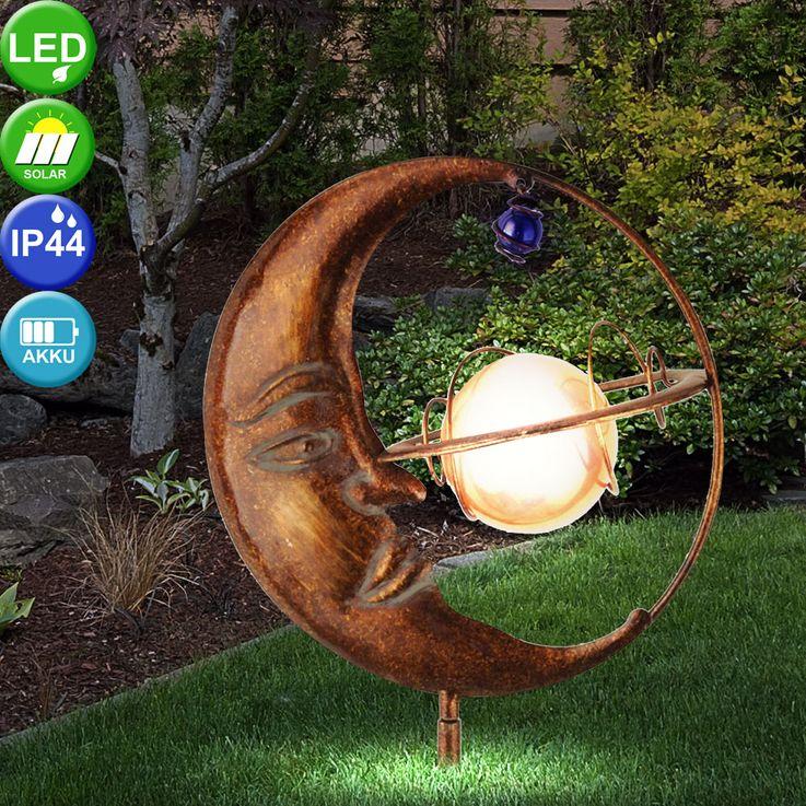 Luxus LED Solar Steck Leuchte Mond Kugel Erdspieß Garten Park Strahler Leuchten Direkt 19776-70 – Bild 3