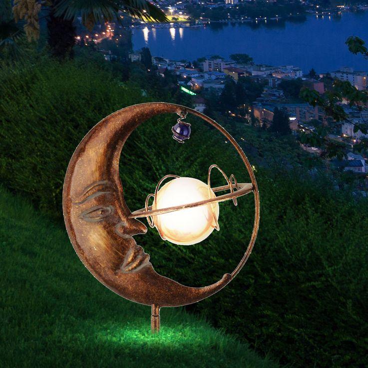 Luxus LED Solar Steck Leuchte Mond Kugel Erdspieß Garten Park Strahler Leuchten Direkt 19776-70 – Bild 7
