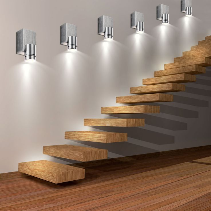 Set of 6 LED wall lights ALU for your living room GORDON – Bild 2