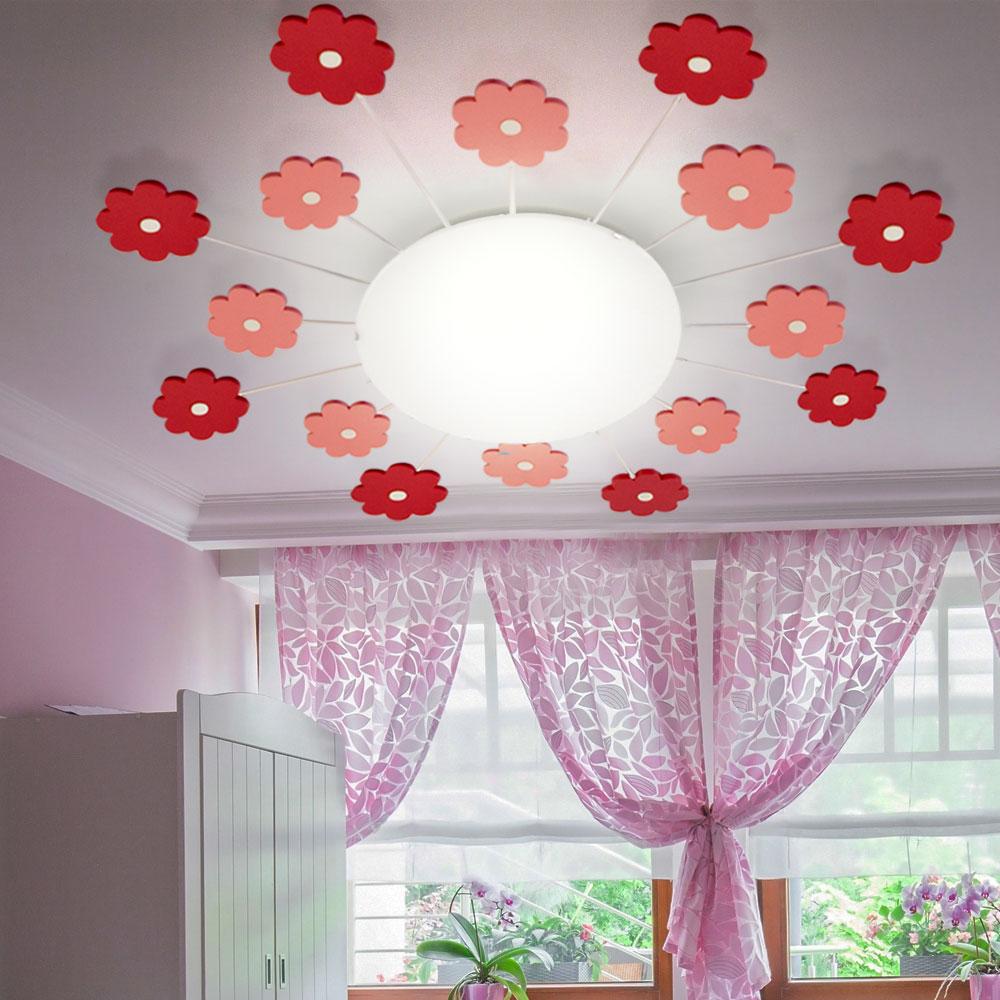 Kinder Decken Lampe Blumen rosa Spiel Zimmer Strahler Wand Metall Leuchte rund