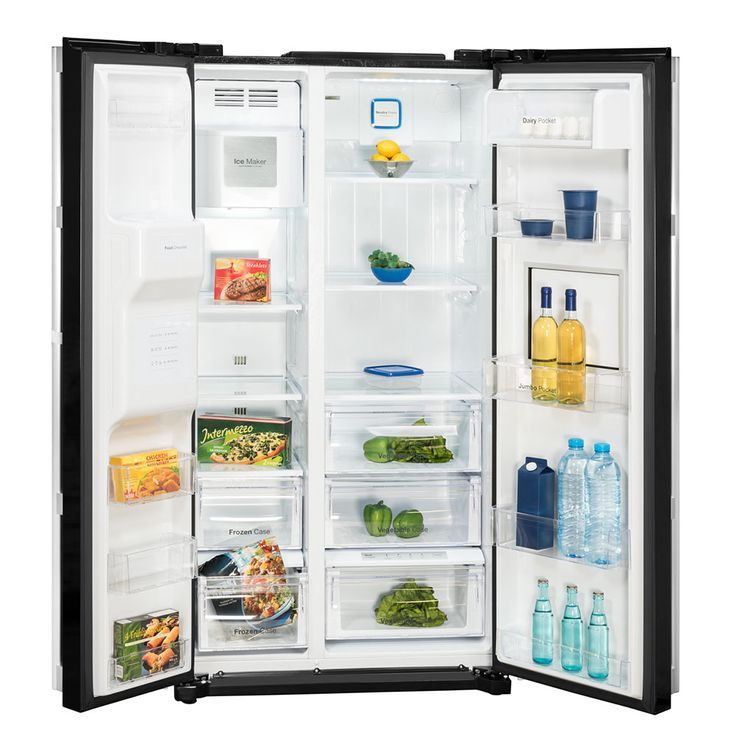 Side by Side refrigerator-freezer combination CRUSHED ICE water connection black DAEWOO – Bild 3