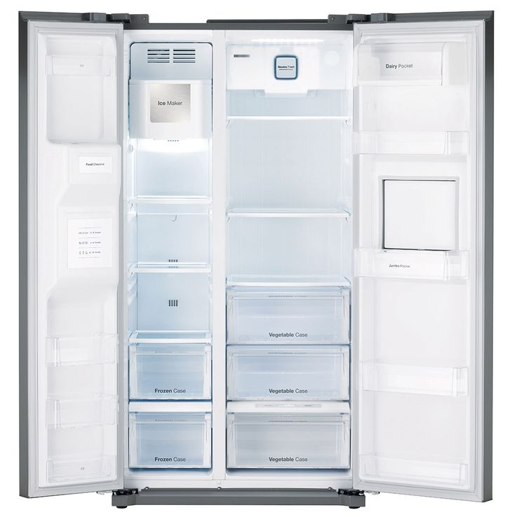 Side by Side refrigerator-freezer combination CRUSHED ICE water connection silver DAEWOO – Bild 2