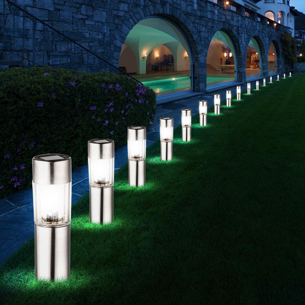 4x 8x 12x 16x led solar lampen edelstahl leuchten au en beleuchtung erdspie ebay. Black Bedroom Furniture Sets. Home Design Ideas