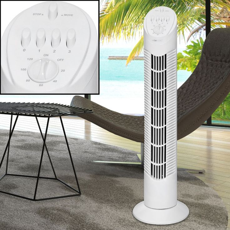2er Set 50 Watt Tower Stand Ventilatoren Säulen Kühler Lufterfrischer 4 Stufen Timer Lüfter – Bild 3