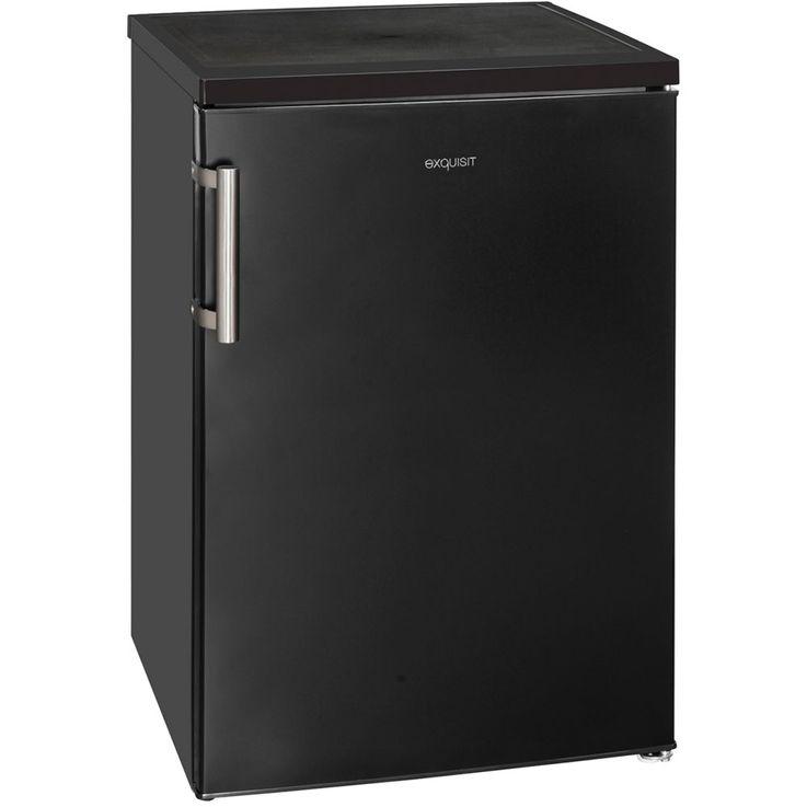 Stand Design Kompakt Kühlschrank 141 Liter Kapazität Exquisit KS16-1 A++ schwarz-matt  – Bild 1