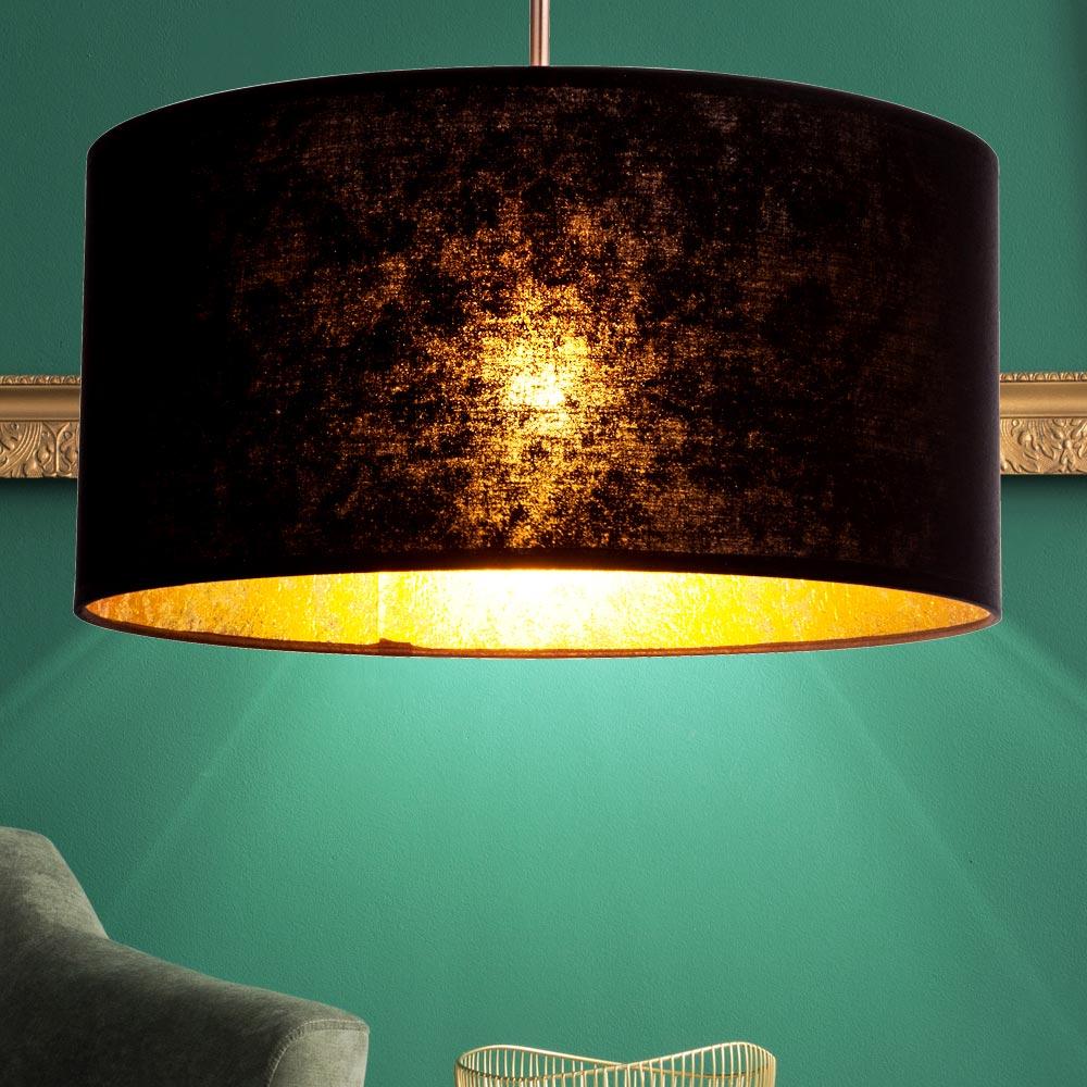 led textil decken h nge lampe wohnzimmer beleuchtung pendel leuchte schwarz gold ebay. Black Bedroom Furniture Sets. Home Design Ideas