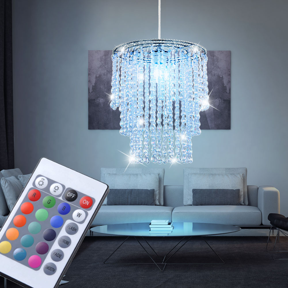 rgb led pendel leuchte fernbedienung wohn zimmer kristall decken luster dimmbar ebay. Black Bedroom Furniture Sets. Home Design Ideas