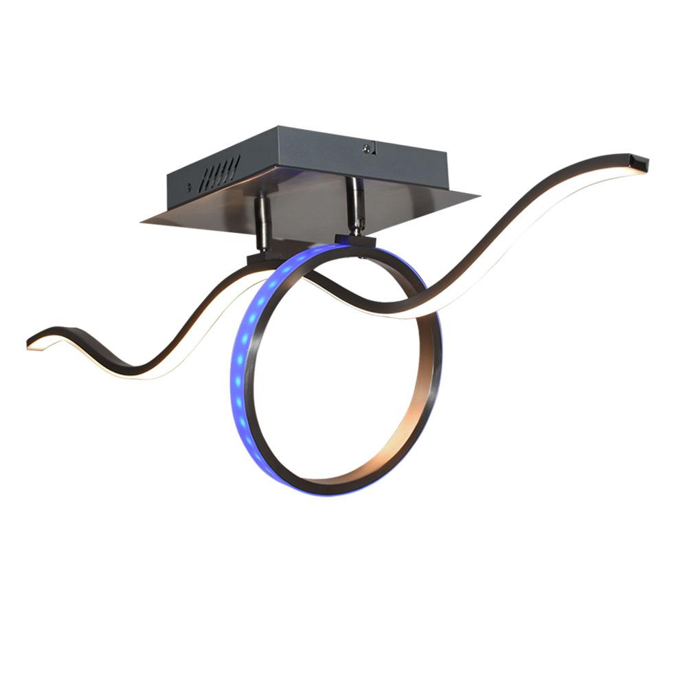 rgb led decken lampe fernbedienung leuchte verstellbar ring strahler geschwungen ebay