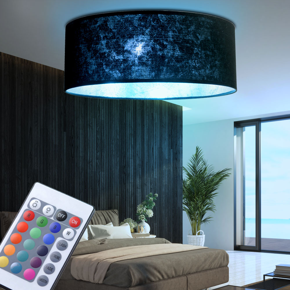 luxus rgb led deckenlampe rund wohnraum stoffschirm farbwechselleuchte dimmbar ebay. Black Bedroom Furniture Sets. Home Design Ideas