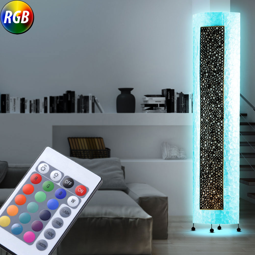 led stehleuchte bambus perlmutt rgb lampe fernbedienung farbwechsel deckenfluter ebay. Black Bedroom Furniture Sets. Home Design Ideas