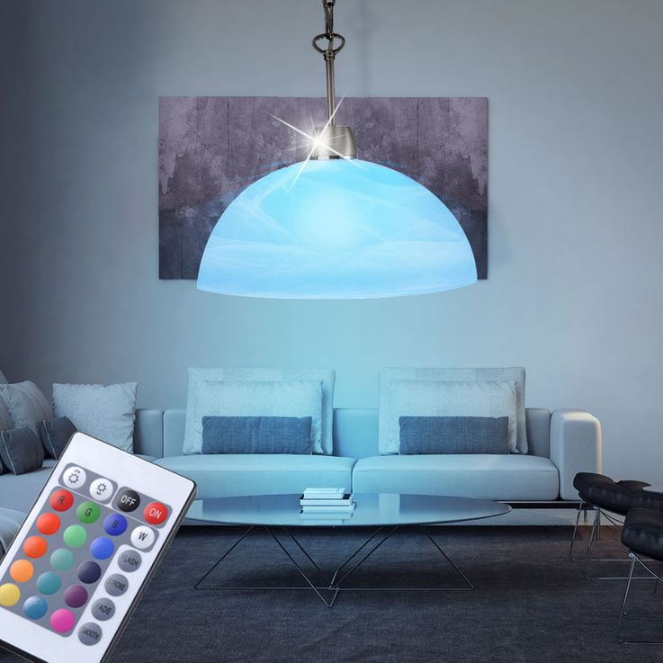 RGB LED Pendellampe with glass screen for your living space – Bild 2