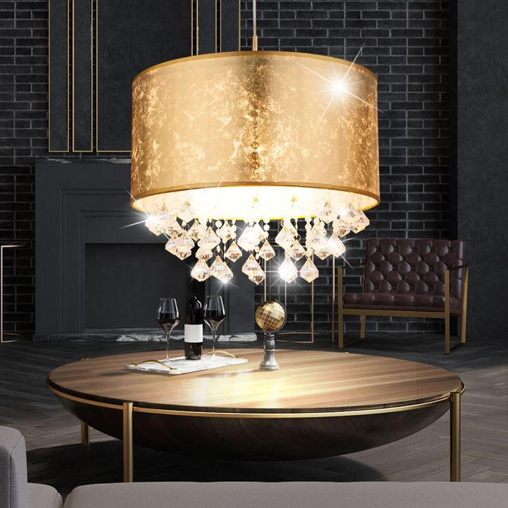 Pendant lamp living room textile screen crystal pendant lamp gold ceiling spotlight Globo 15187H3 – Bild 5