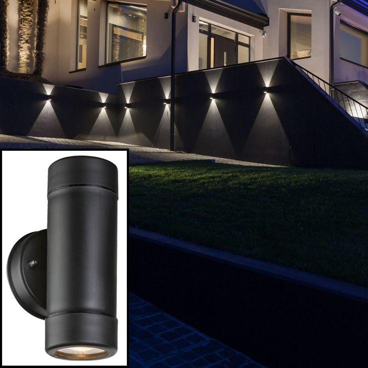 UP Down Außen Wand Lampe Fassaden Garten Terasse Beleuchtung Leuchte IP44 Schwarz Globo 32005-2 – Bild 6